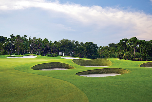Golf course sand traps at one of the best golf communities in Florida