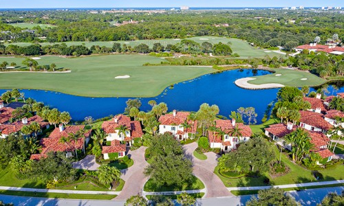An aerial shot of the best golf community in Florida featuring luxury real estate for sale.