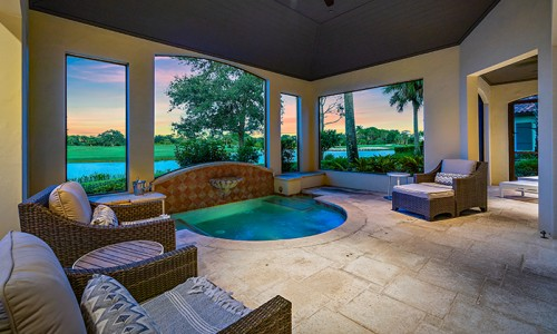 Golf real estate for sale includes this villa with a private plunge pool at Timbers Jupiter