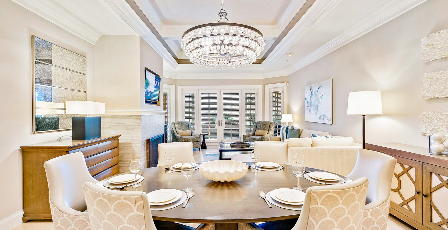 Dining area at the home for sale at Timbers Jupiter, a gated golf community in Florida